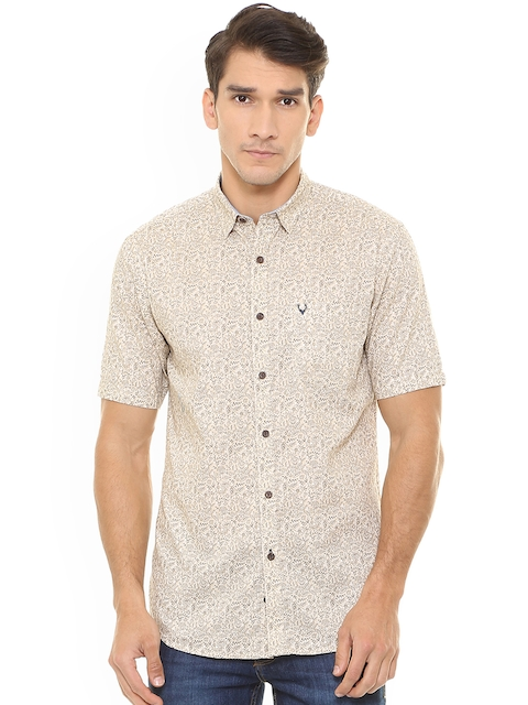 Allen Solly Men Beige Slim Fit Printed Casual Shirt