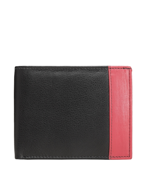 Teakwood Leathers Men Black & Pink Colourblocked Leather Two Fold Wallet