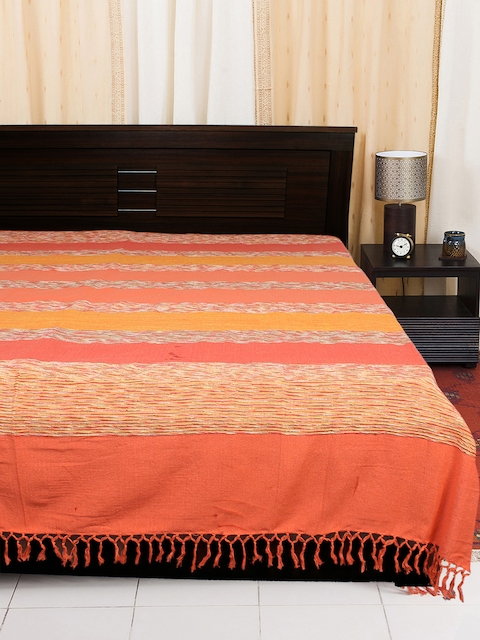EverHOME Orange Woven Cotton Bed Cover