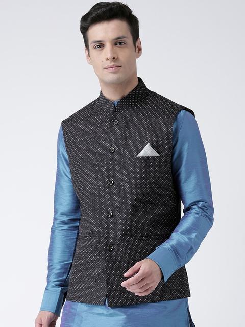 DEYANN Men Black Printed Nehru Jacket