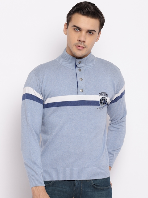 98 Degree North Men Blue Solid Sweater