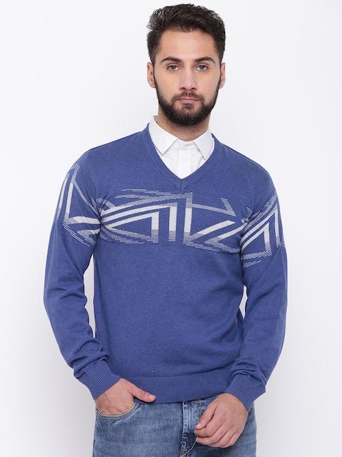 98 Degree North Men Blue Self Design Sweater