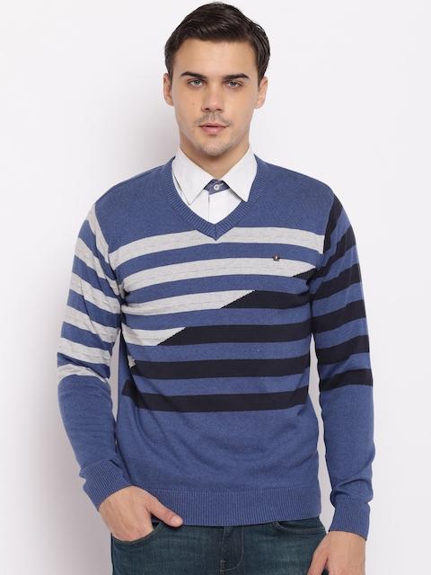 98 Degree North Men Blue & Grey Striped Pullover