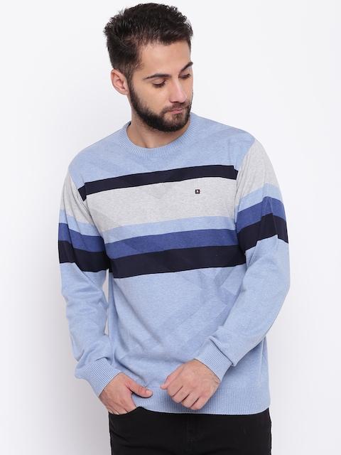 98 Degree North Men Blue Striped Sweater