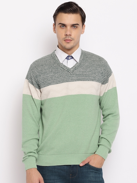 98 Degree North Men Green & Off-White Striped Sweater