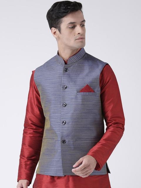 DEYANN Men Blue Jacquard Nehru Jacket