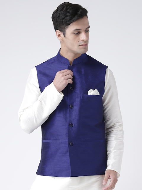 DEYANN Men Blue Solid Nehru Jacket