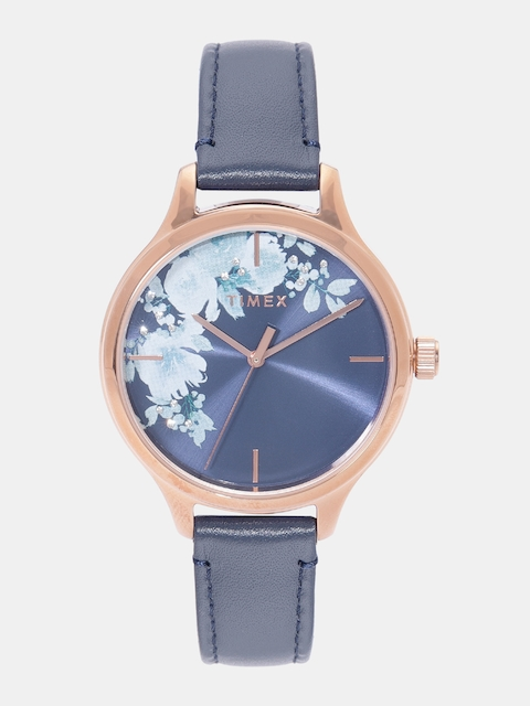 Timex Women Navy Blue Printed Analogue Watch TW2R66700