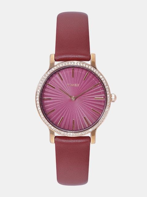 Timex Women Burgundy Swarovski Crystal-Studded Analogue Watch TW2R51100