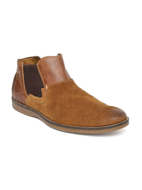 Ruosh Men Tan Brown Solid Suede Mid-Top Flat Boots
