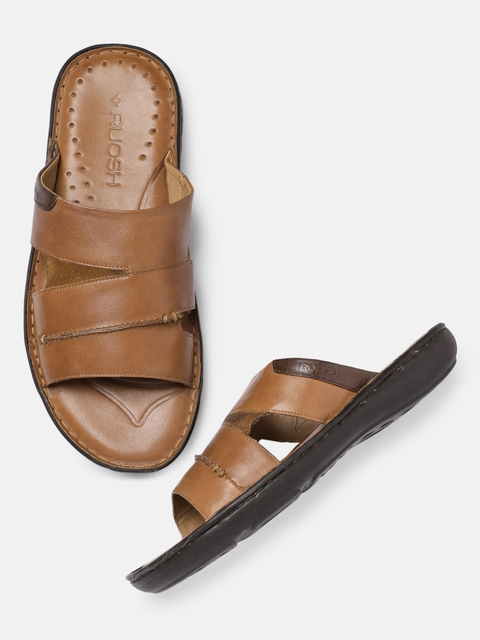 Ruosh Men Brown Solid Leather Sandals