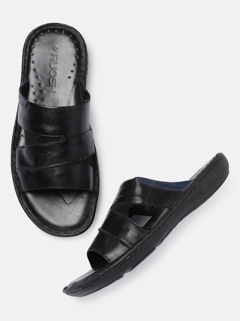 Ruosh Men Black Solid Leather Sandals