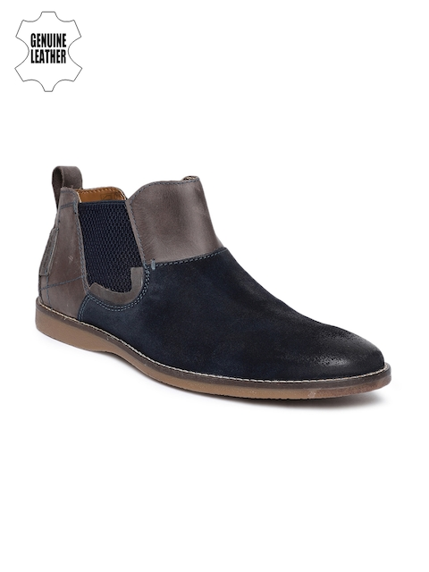 Ruosh Men Navy Blue Solid Suede Mid-Top Flat Boots