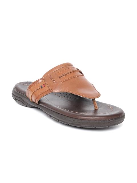 Ruosh Men Brown Leather Comfort Sandals