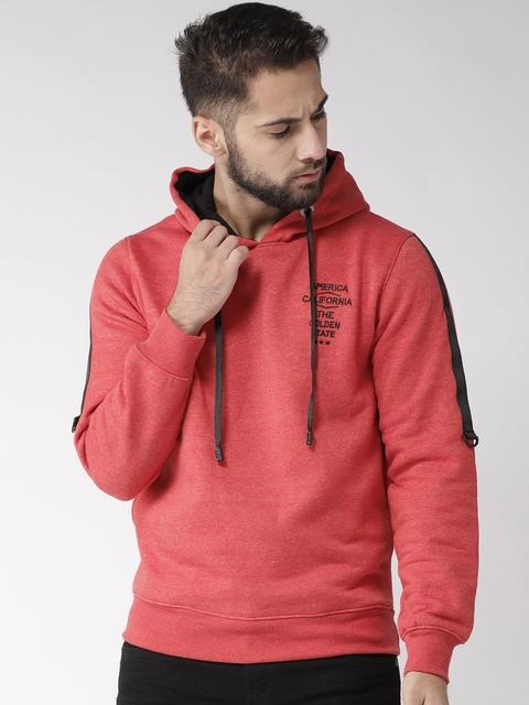 Fort Collins Men Coral Red Solid Hooded Sweatshirt