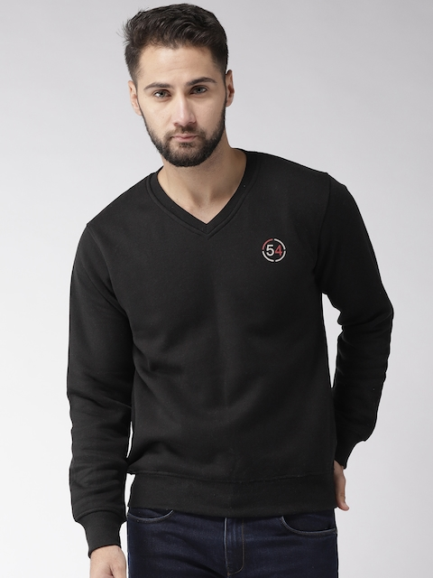 Fort Collins Men Black Solid Sweatshirt