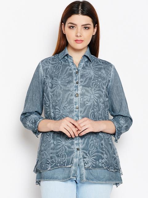 AASK Women Grey Comfort Regular Fit Self Design Casual Shirt