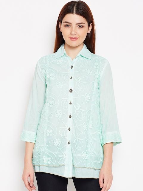 AASK Women Sea Green Comfort Regular Fit Printed Casual Shirt