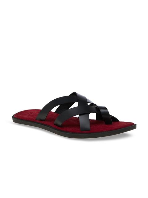 SKO Men Black & Red Comfort Sandals