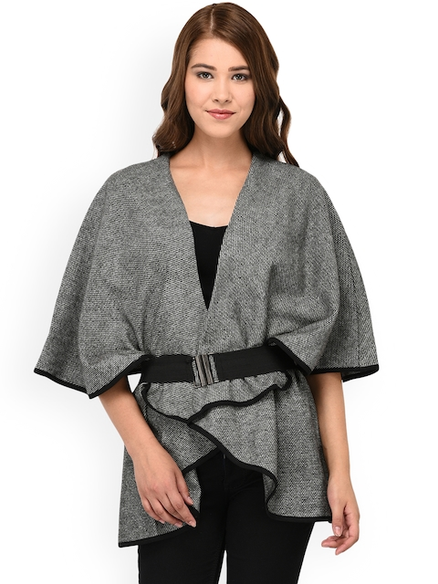 Owncraft Women Black Self Design Wollen Cape Jacket
