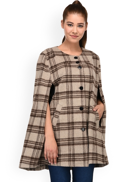 Owncraft Women Brown Checked Wollen Cape Jacket
