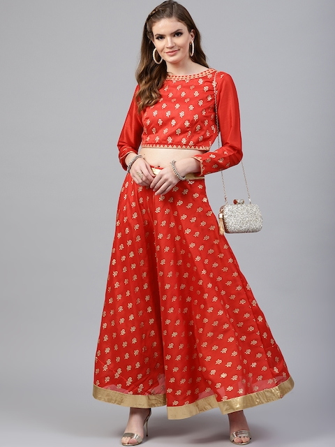 Juniper Red & Golden Ready to Wear Lehenga with Blouse