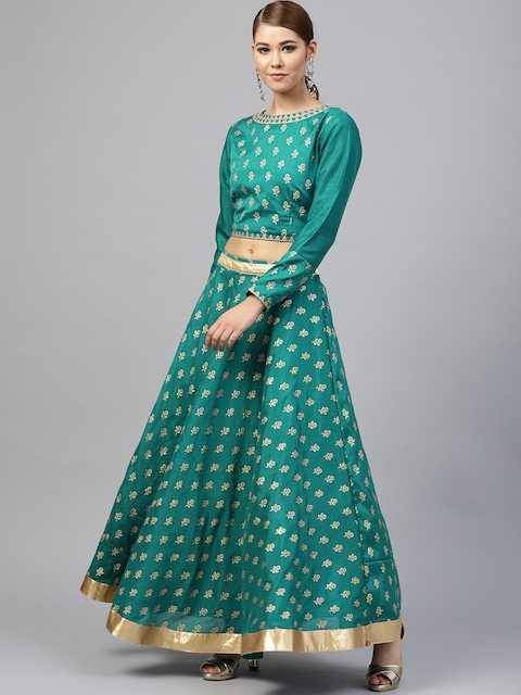 Juniper Teal Green & Golden Embossed Print Ready to Wear Lehenga with Blouse