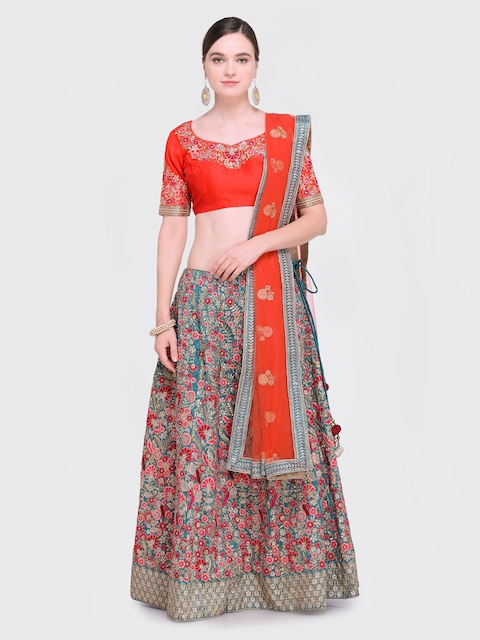 487879f1d0 25%off Styles Closet Grey & Orange Embroidered Semi-Stitched Lehenga &  Unstitched Blouse with Dupatta