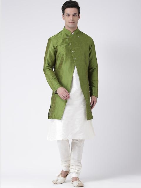 DEYANN Men Green & Off White Sherwani Set