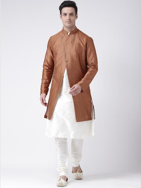 DEYANN Men Brown & Off White Sherwani Set