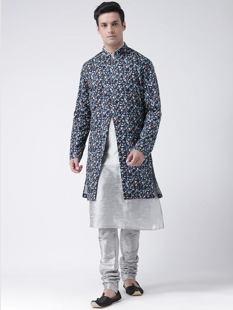 DEYANN Men Navy Blue & Silver-Coloured Printed Sherwani With Achkan