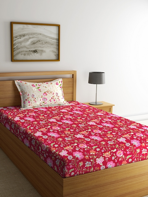 Portico New York Red Floral Flat 144 TC Cotton 1 Single Bedsheet with 2 Pillow Covers