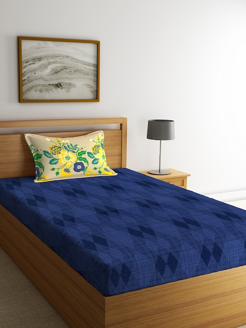 Portico New York Blue Geometric Flat 144 TC Cotton 1 Single Bedsheet with 2 Pillow Covers