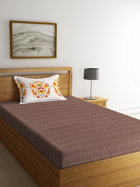 Portico New York Brown Geometric Flat 144 TC Cotton Single Bedsheet with 1 Pillow Cover