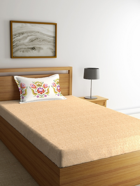 Portico New York Beige Geometric Flat 144 TC Cotton Single Bedsheet with 1 Pillow Covers