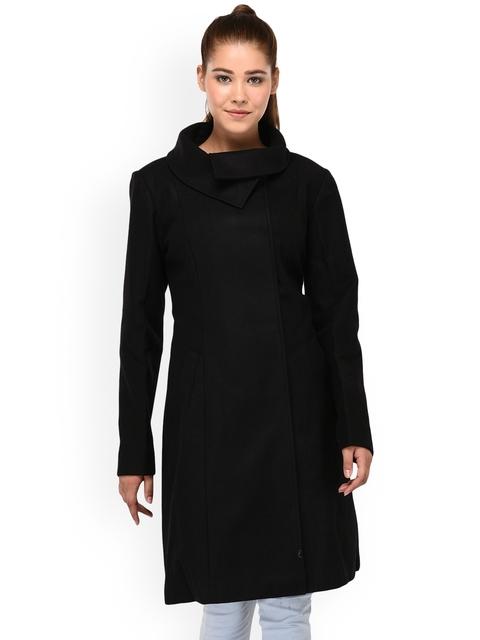 Owncraft Women Black Solid Woollen Trench Coat