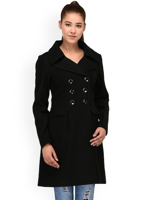 Owncraft Women Black Solid Woollen Trench Coat