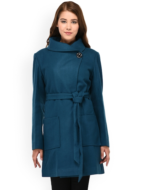 Owncraft Women Torquoise Blue Solid Overcoat