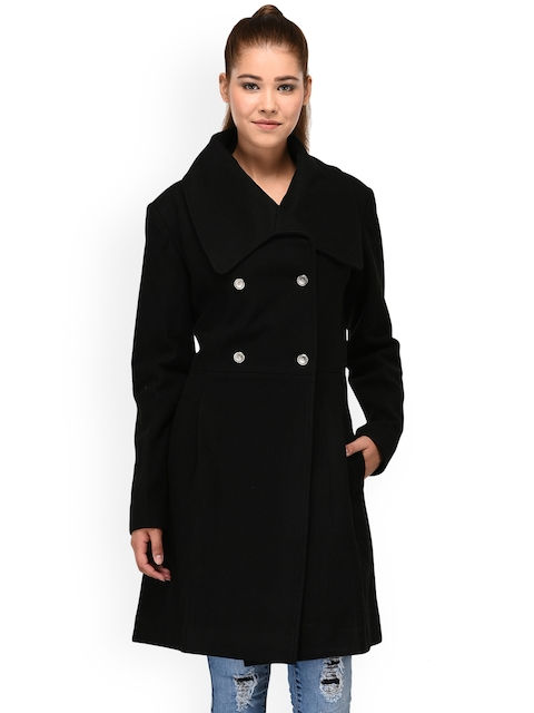 Owncraft Black Solid Double-Breasted Overcoat