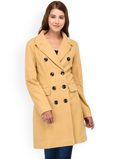 Owncraft Women Beige Double Breasted Overcoat