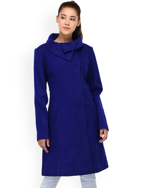 Owncraft Women Blue Solid Woolen Overcoat