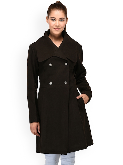 Owncraft Women Brown Solid Woolen Peacoat