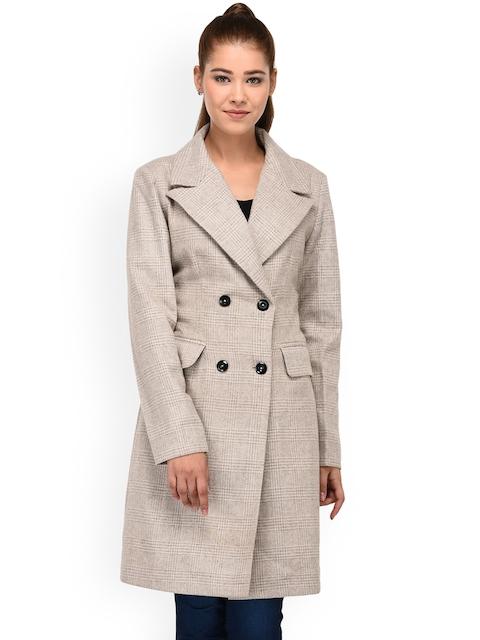 Owncraft Women Beige Solid Woollen Trench Coat