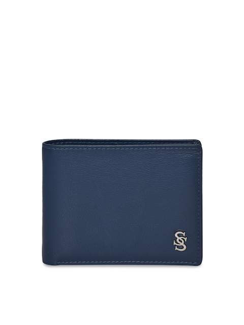 Second SKIN Men Blue Solid Two Fold Leather Wallet