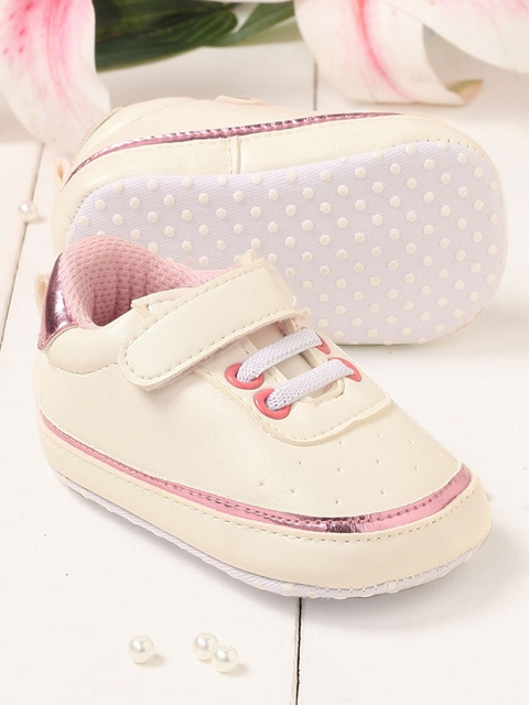 Walktrendy Unisex Kids White and Pink Velcro Booties