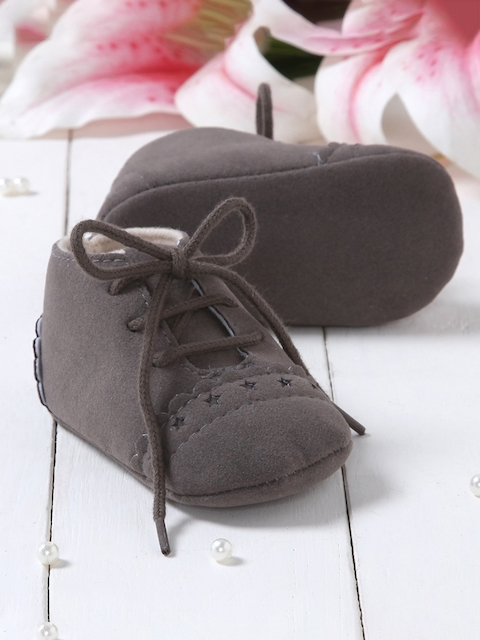 Walktrendy Unisex Kids Grey Lace-Up Booties