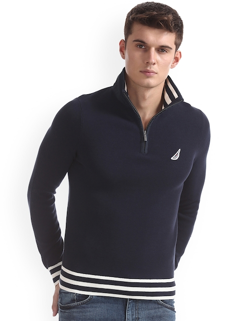 Nautica Men Blue Solid Pullover
