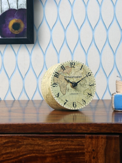 Athome by Nilkamal Beige Round Printed Analogue Table Clock