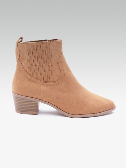 DOROTHY PERKINS Women Tan Brown Solid Heeled Boots