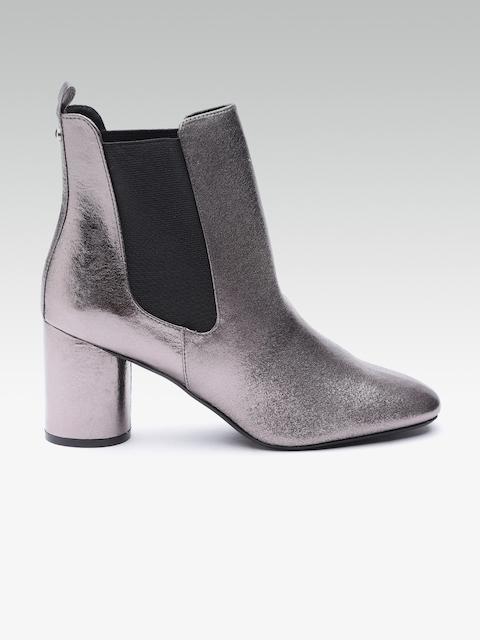 DOROTHY PERKINS Women Gunmetal-Toned Solid Mid-Top Heeled Boots